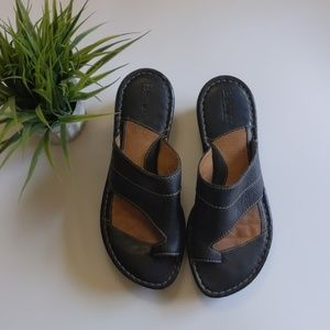 Shoes - Born Black Leather Slides With Toe Loop.